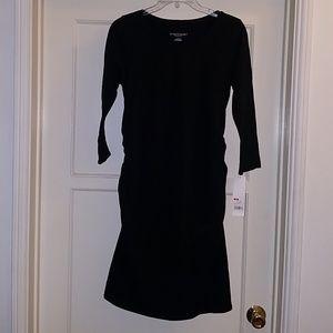 Black stretchy maternity dress